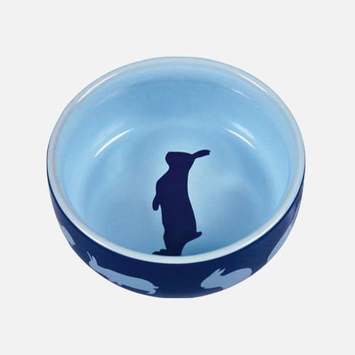 madskål og vandskål kanin blå